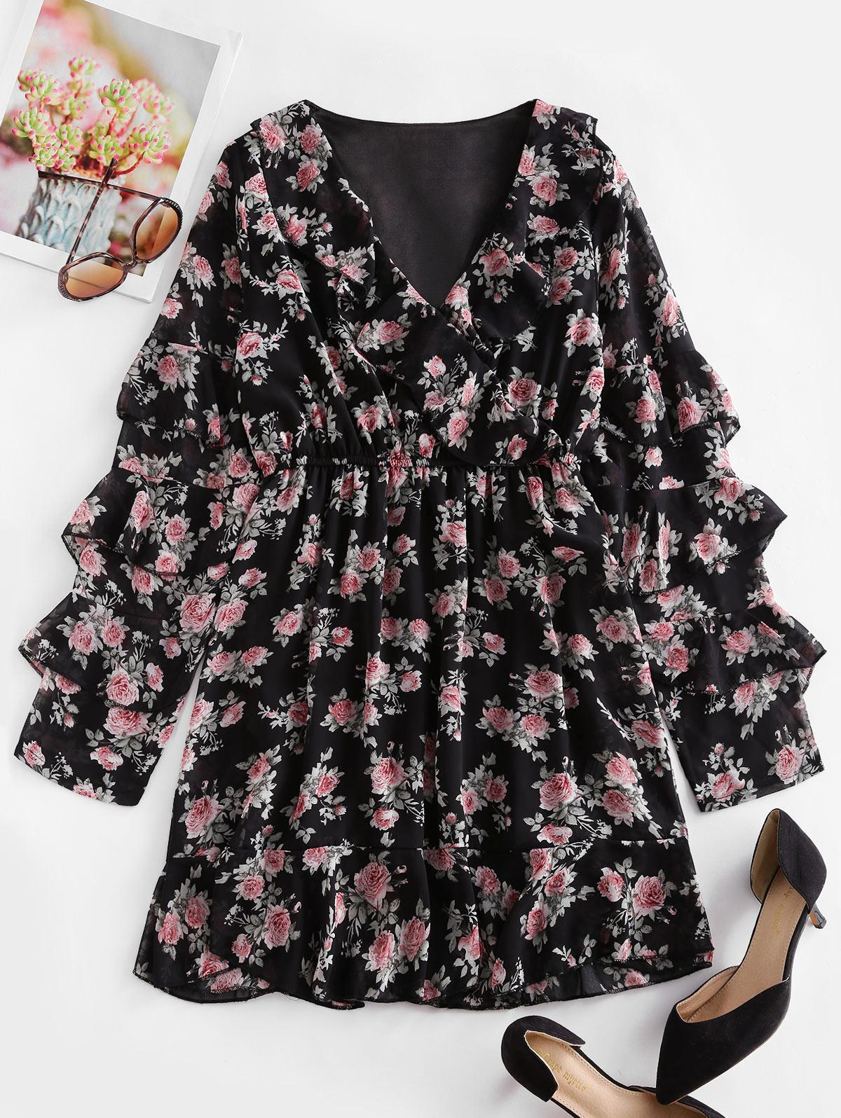 Floral Layered Ruffled Surplice Chiffon Dress
