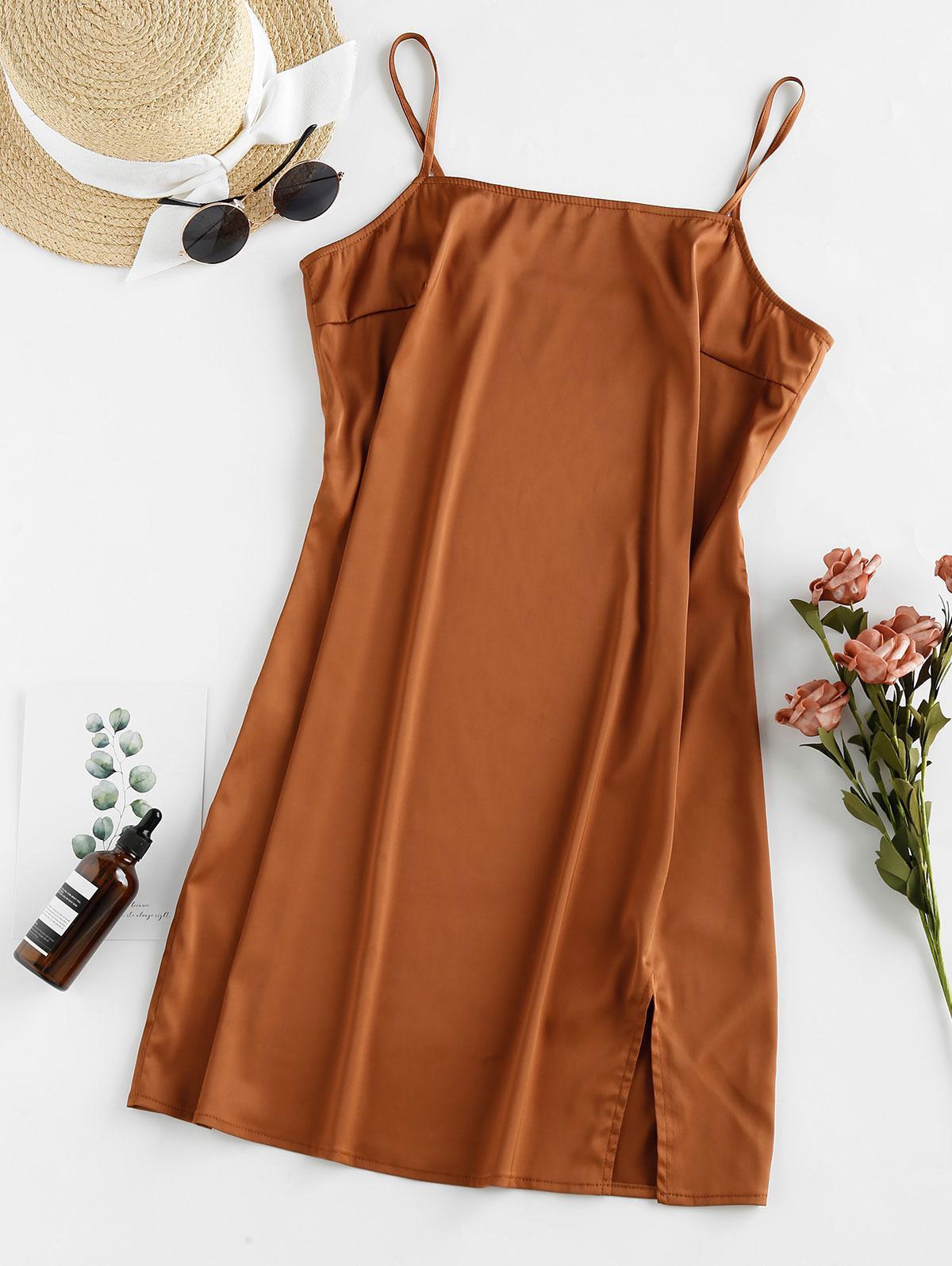 ZAFUL Slit Satin Mini Cami Dress