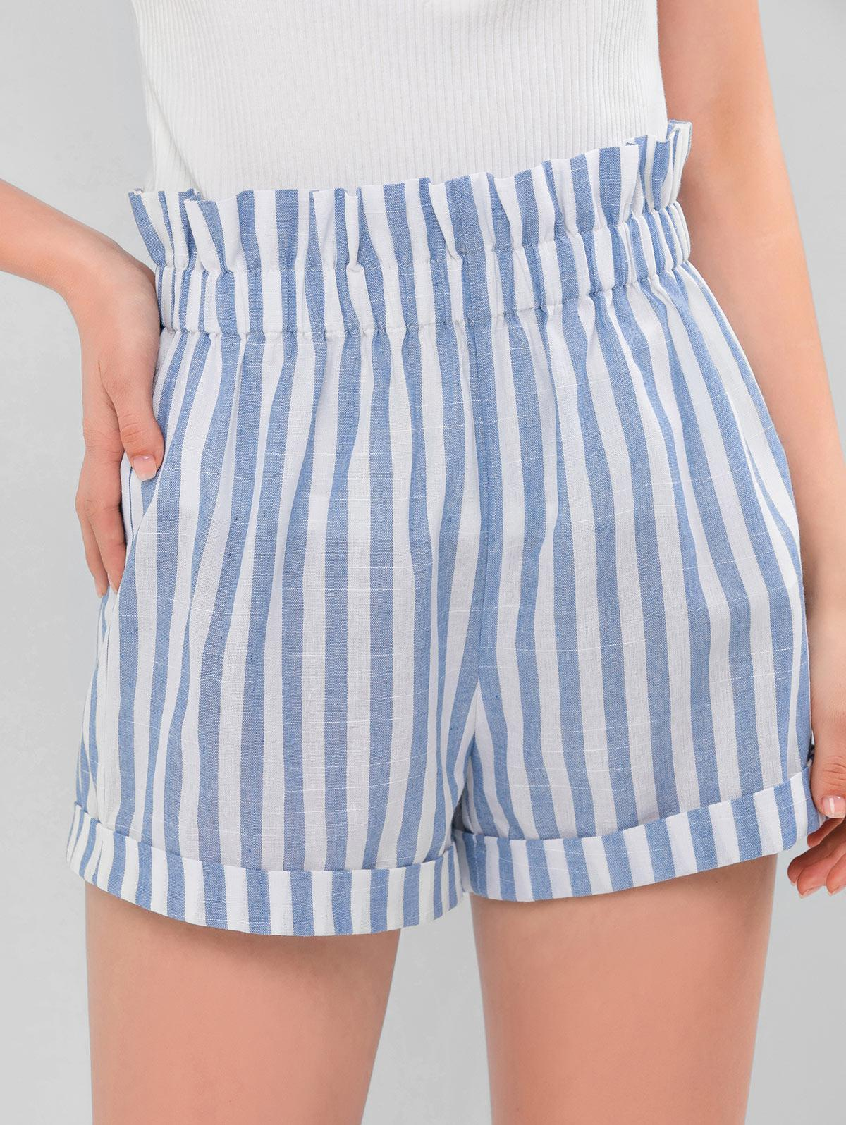 ZAFUL Two Tone Striped Paperbag Shorts