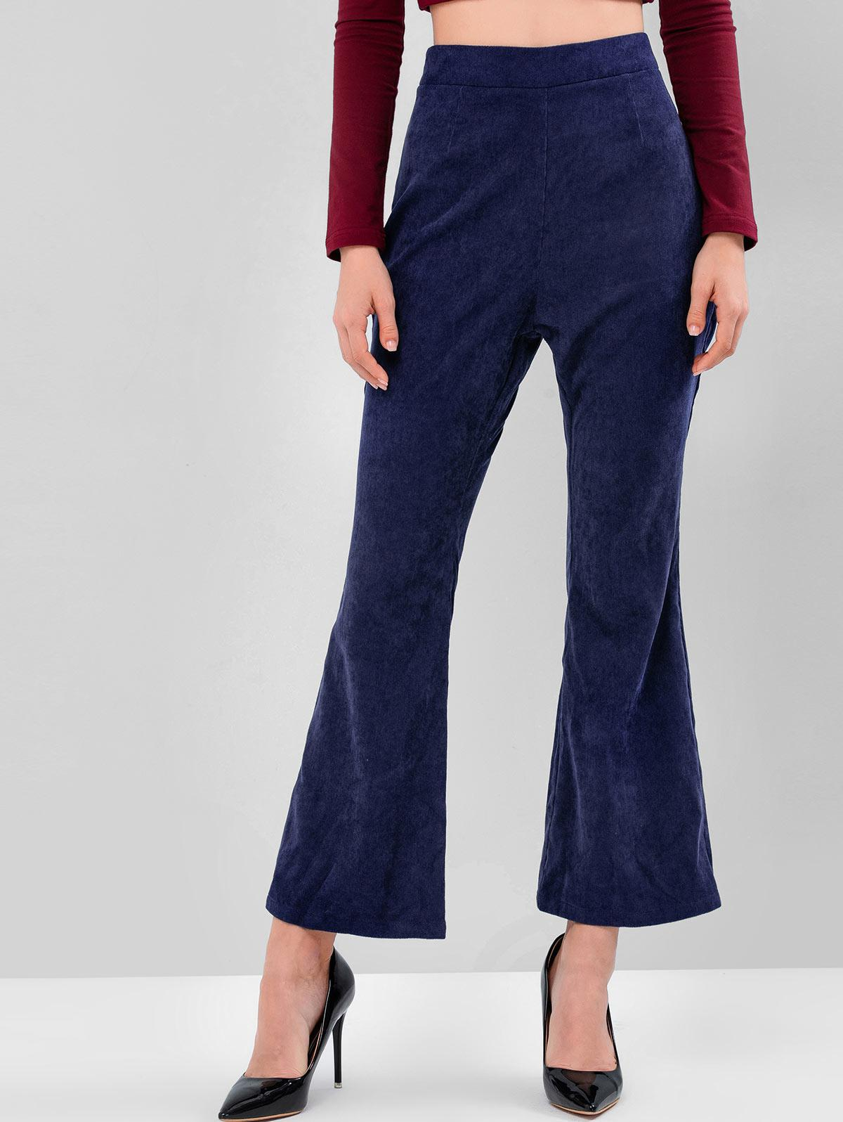 ZAFUL Side Zipper High Waisted Corduroy Flare Pants