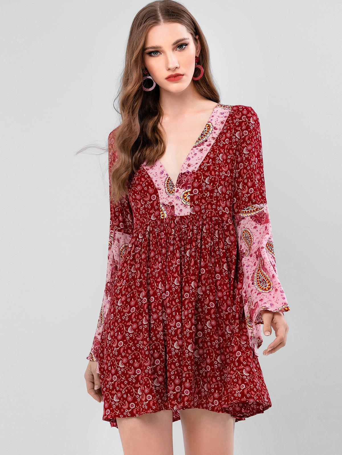 ZAFUL Floral Paisley Print Flare Sleeves A Line Dress фото