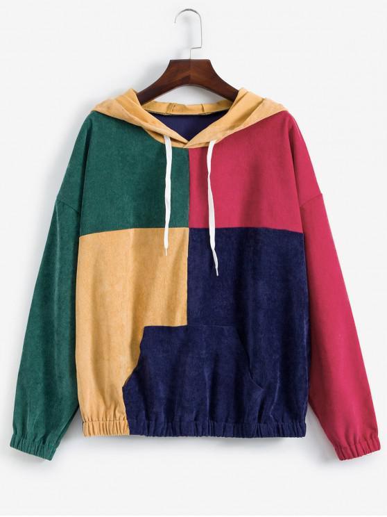 ZAFUL gota del hombro bolsillo delantero de Colorblock pana con capucha - Multicolor-A XL