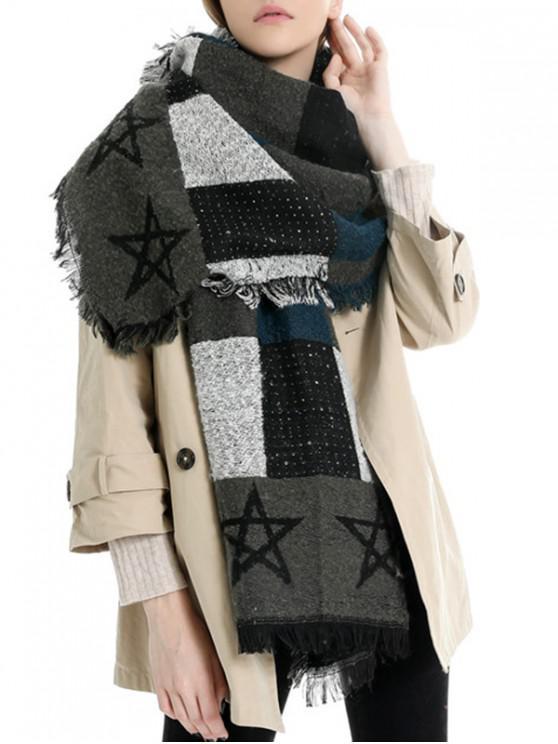 womens Fringe Star Pattern Colorblock Scarf - BLACK REGULAR