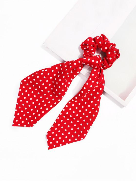 women's Polka Dot Ribbon Intestine Ring Hair Band - RED