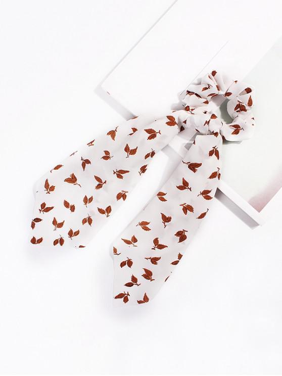 葉圖案蝴蝶結絲帶腸環發帶 - 白色