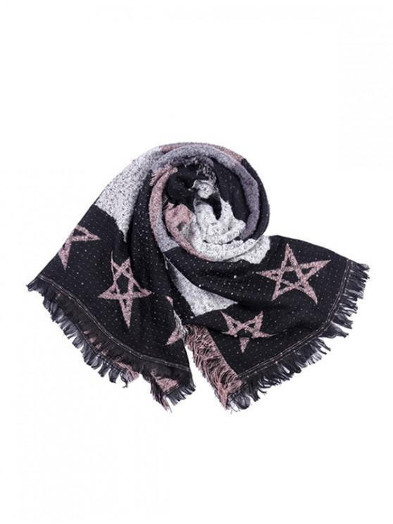 outfits Fringe Star Pattern Colorblock Scarf - LIGHT PINK REGULAR