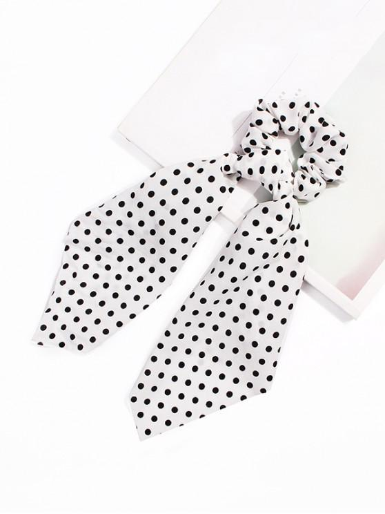 shop Polka Dot Ribbon Intestine Ring Hair Band - WHITE