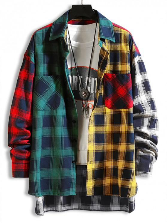 trendy Plaid Print Spliced High Low Button Shirt - GREEN XL