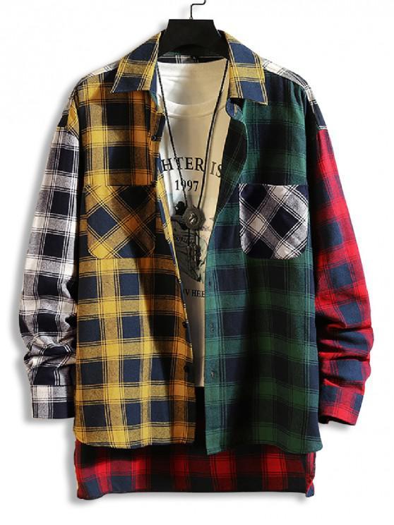 trendy Plaid Print Spliced High Low Button Shirt - GOLDEN BROWN XL