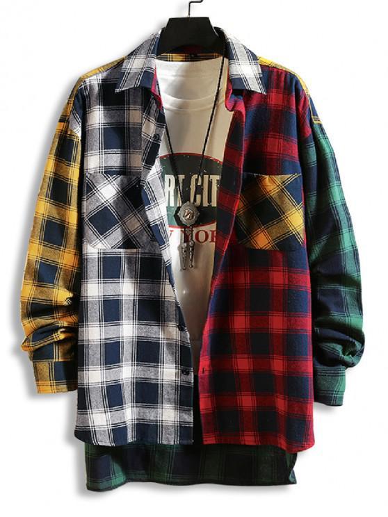 online Plaid Print Spliced High Low Button Shirt - BLACK XL