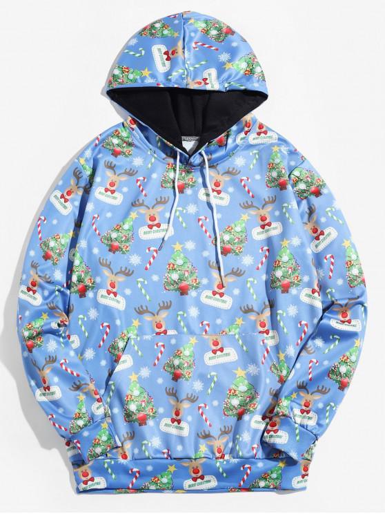 womens Christmas Tree Animal Printed Hoodie - BLUE 2XL