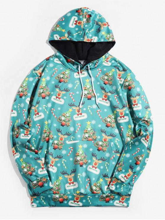 ladies Christmas Tree Animal Printed Hoodie - MACAW BLUE GREEN M