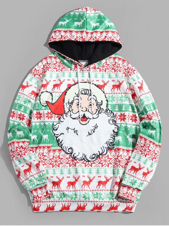 shop Christmas Snowflake Elk Printed Hoodie - MULTI-A XL