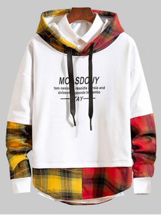 fashion Faux Two Pieces Plaid Letter Printed Hoodie - WHITE XS