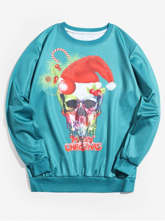 hot Christmas Skull Letter Printed Sweatshirt - MACAW BLUE GREEN M