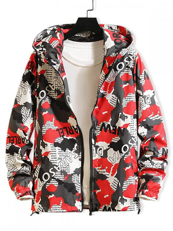 lady Camouflage Letter Graphic Print Hooded Jacket - RED 2XL