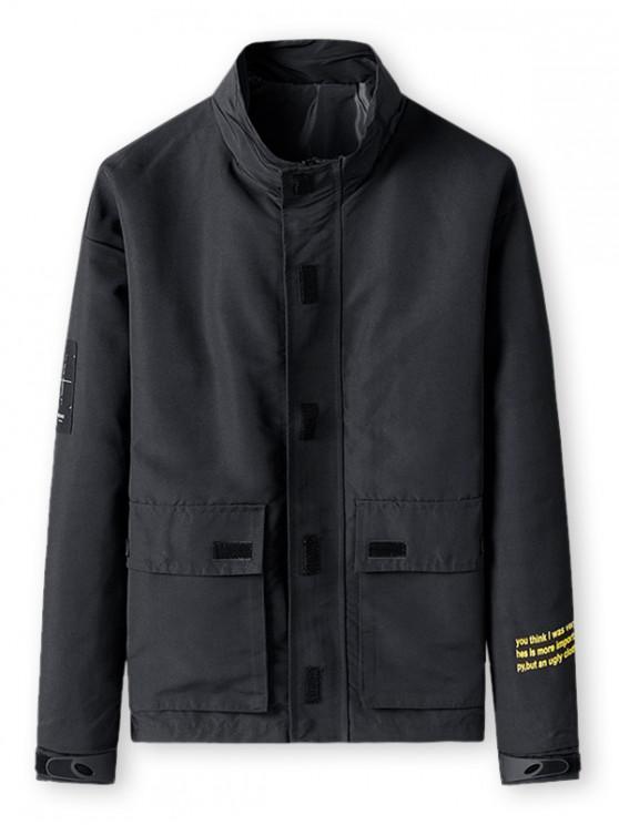 Buchstabedruck Taschen Design Reißverschluss Jacke - Schwarz M