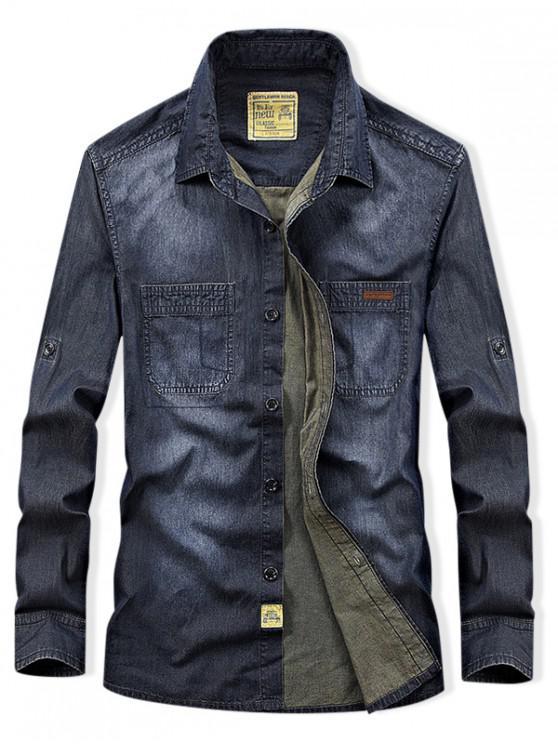 hot Long Sleeve Denim Cargo Shirt - DENIM DARK BLUE L