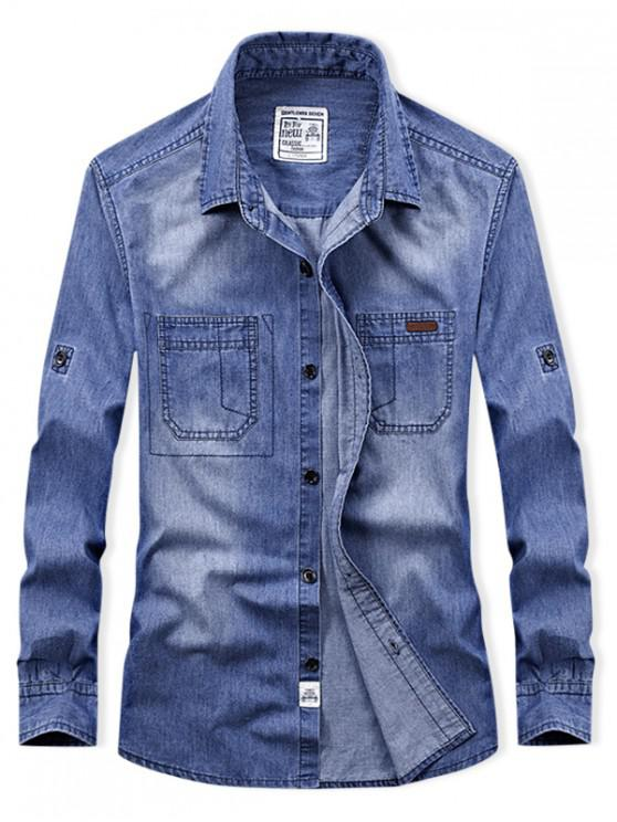 fashion Long Sleeve Denim Cargo Shirt - DENIM BLUE 2XL