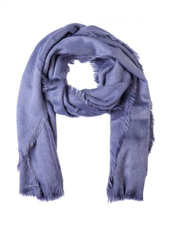 Echarpe Longue en Couleur Unie en Fausse Fourrure à Frange - Bleu Ardoise Léger Ordinaire