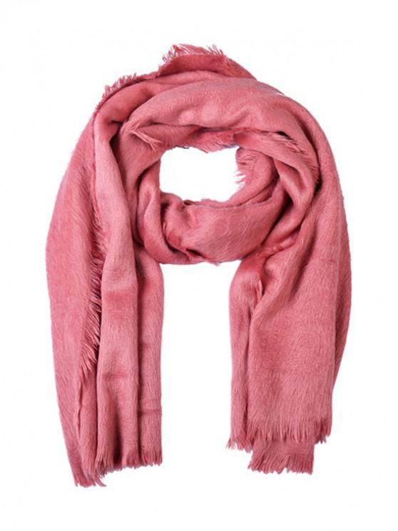 women Faux Fur Long Fringe Solid Scarf - LIGHT PINK REGULAR
