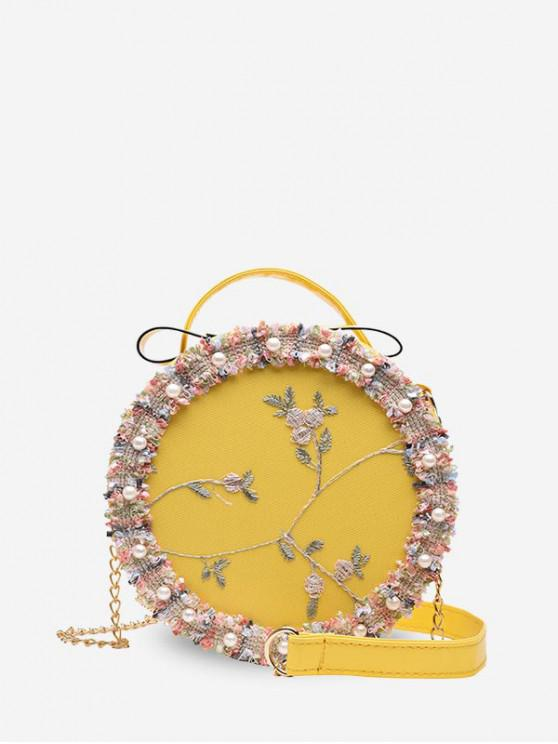 ladies Chain Lace Round Pearl Shoulder Bag - SUN YELLOW