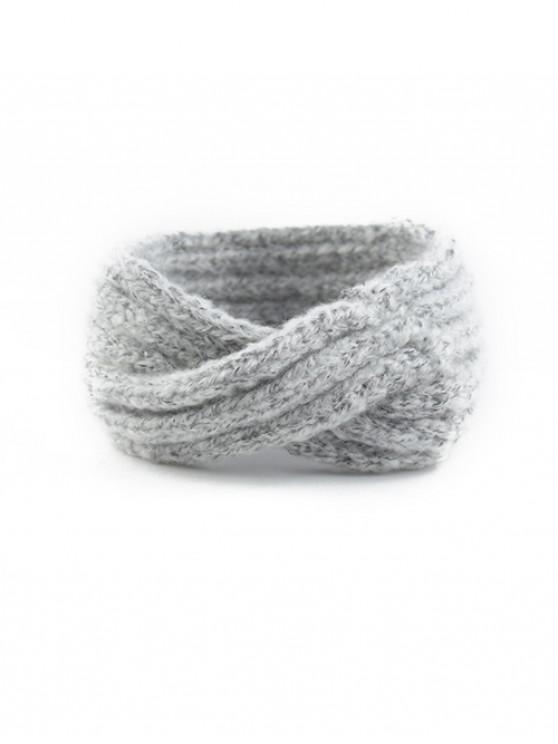 lady Mohair Twist Stripe Knitted Headband - GRAY CLOUD