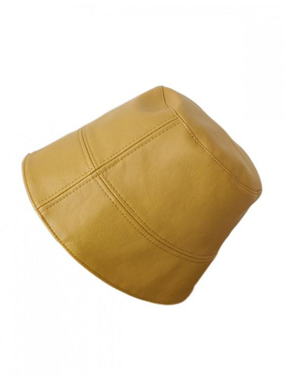 Faux หนังย่อ Bucket Hat - สีเหลือง