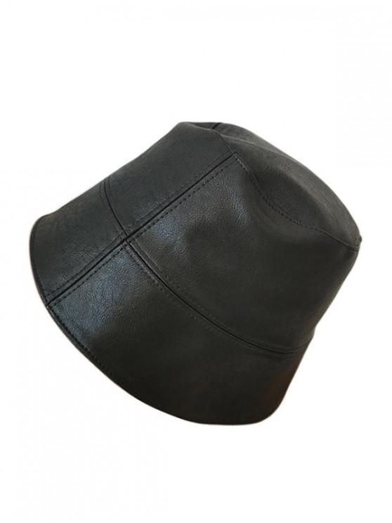 Faux หนังย่อ Bucket Hat - สีดำ