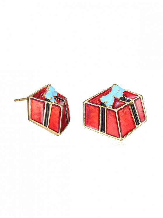 trendy Christmas Gift Glazed Stud Earrings - GOLD