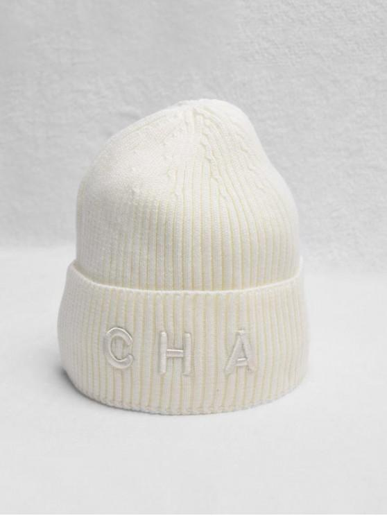 unique Letter Turn Up Edge Knitted Hat - MILK WHITE