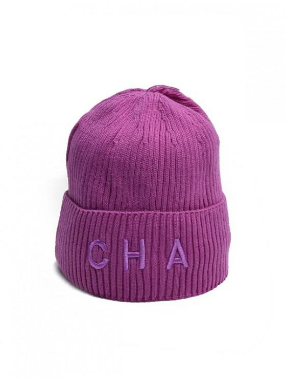 buy Letter Turn Up Edge Knitted Hat - MEDIUM ORCHID