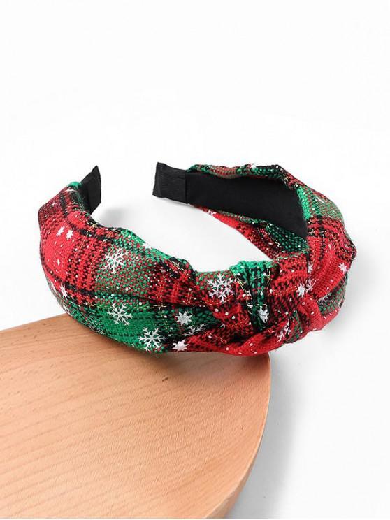 womens Gingham Snowflake Christmas Hairband - GREEN