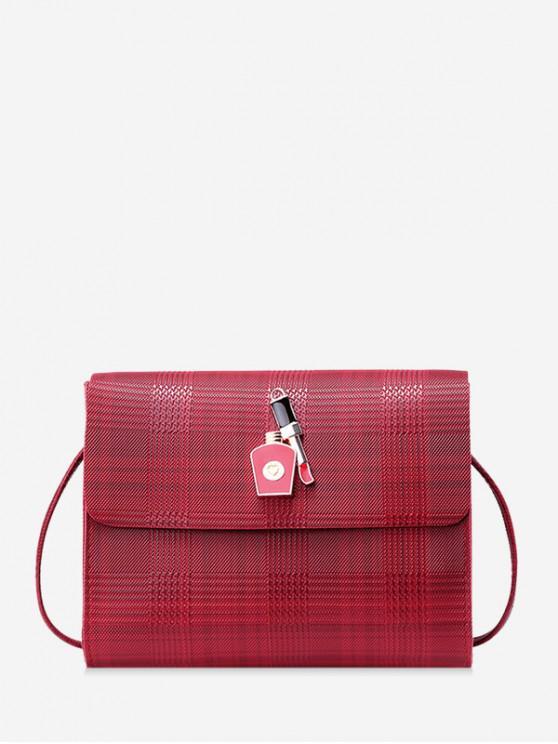 outfits Houndstooth Shoulder Bag - RED WINE