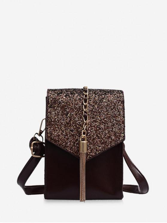shop Mini Tassel Chain Crossbody Bag - BROWN
