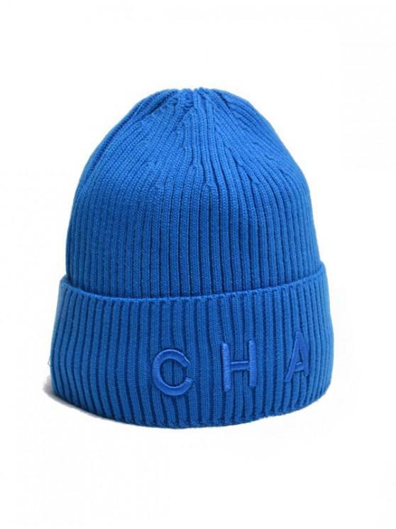 Chapeau Tricoté Lettre à Ourlet Relevé - Bleu Océan