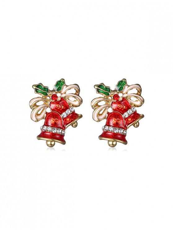 womens Christmas Bell Rhinestone Earrings - GOLD