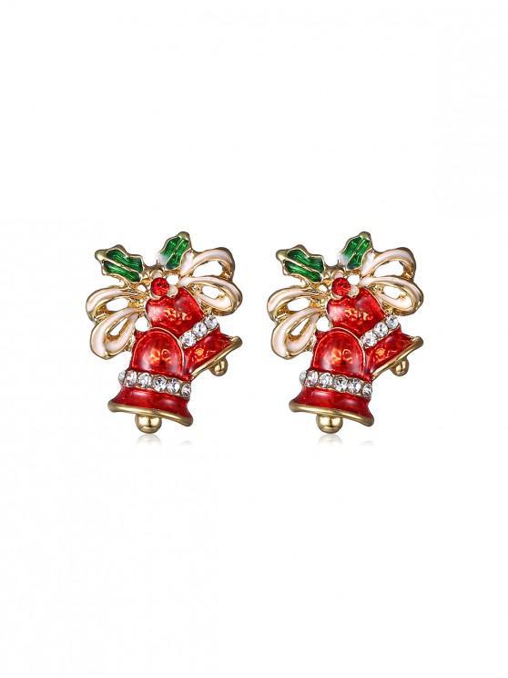 womens Christmas Bell Rhinestone Earrings - GOLD