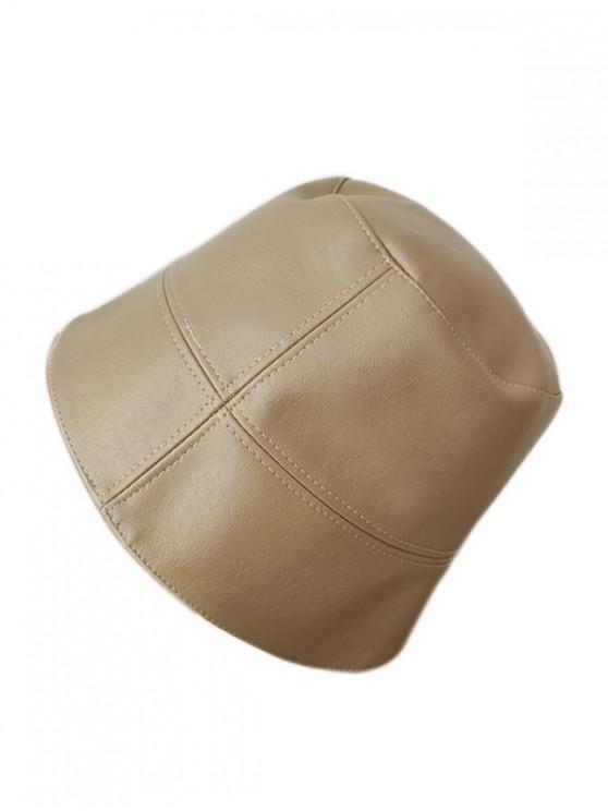 Faux หนังย่อ Bucket Hat - กากี