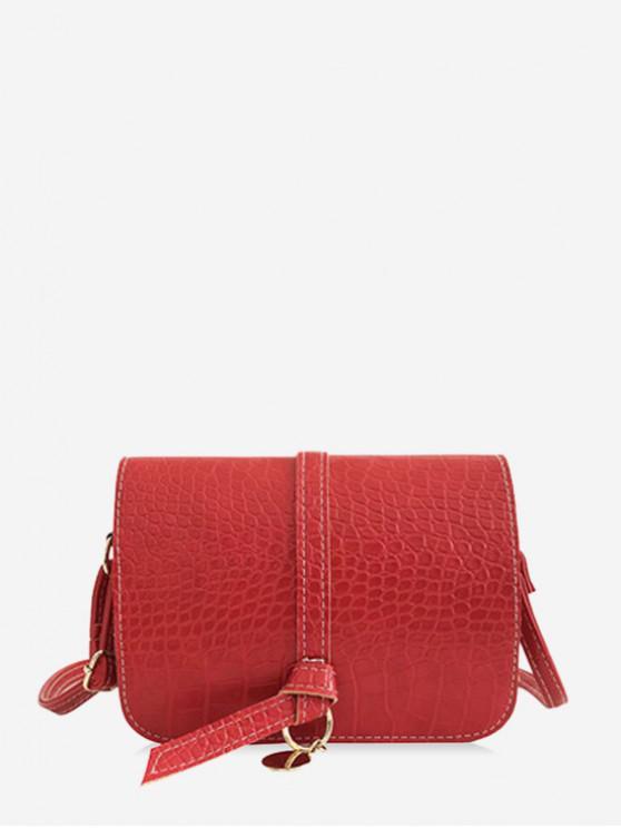 new Belt Solid Skin Pattern Shoulder Bag - ROSSO RED