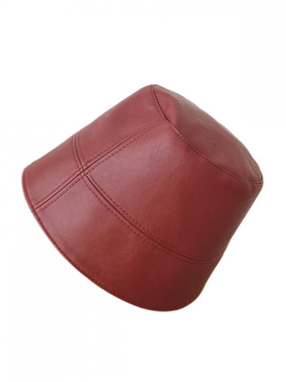Chapeau Seau Simple en Faux Cuir - Rouge Vineux