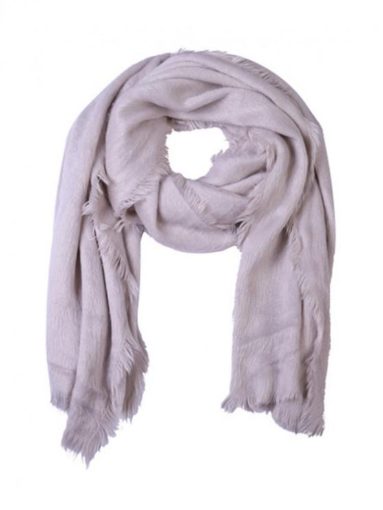 outfits Faux Fur Long Fringe Solid Scarf - WHITE REGULAR