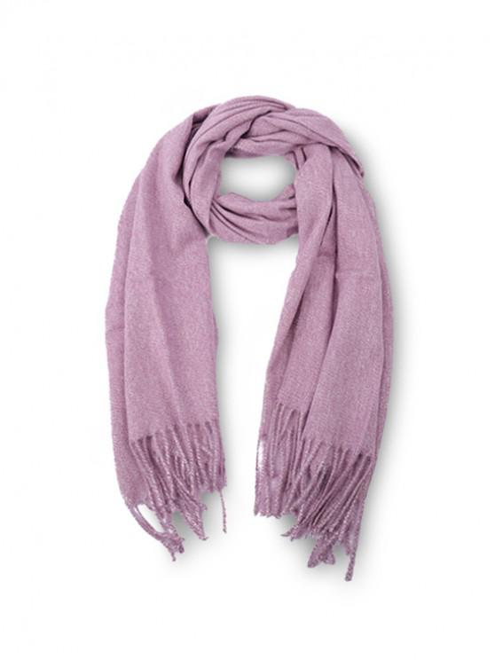 trendy Fringed Faux Cashmere Long Scarf - PINK ROSE REGULAR