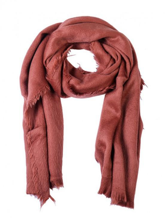 sale Faux Fur Long Fringe Solid Scarf - CHESTNUT RED REGULAR