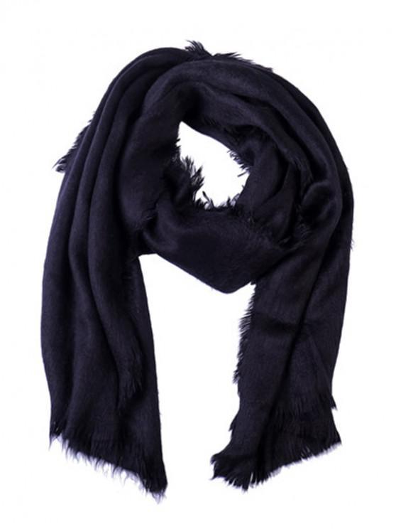 affordable Faux Fur Long Fringe Solid Scarf - BLACK REGULAR