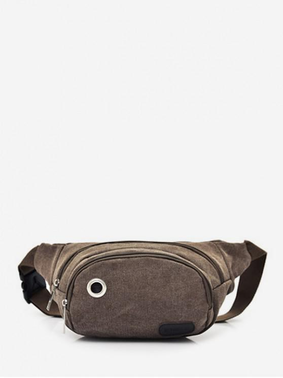 trendy Outdoor Double Expansion Pockets Canvas Waist Bag - COFFEE