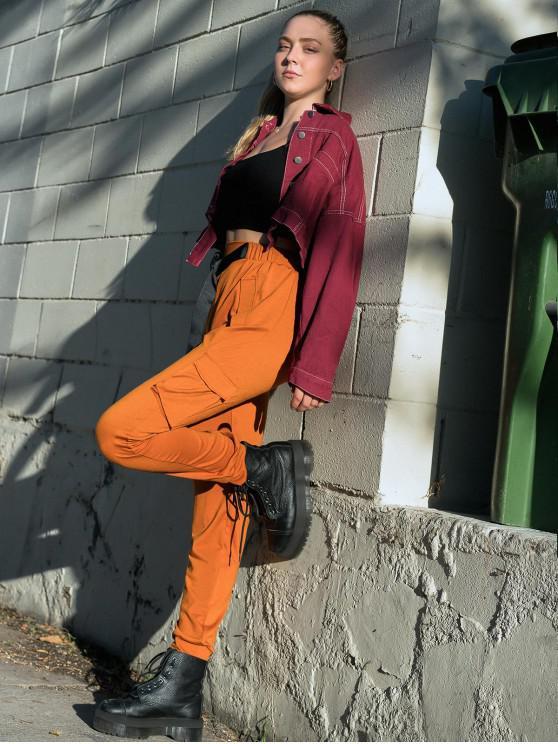 unique ZAFUL X Luna Montana Buckled Embellished High Waist Jogger Pants - CARAMEL S