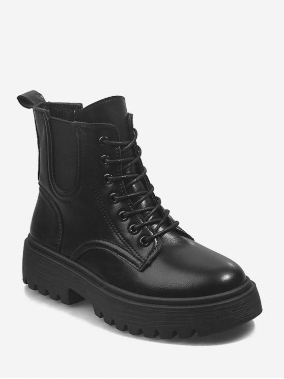 women's Low Platform PU Leather Cargo Boots - BLACK EU 37