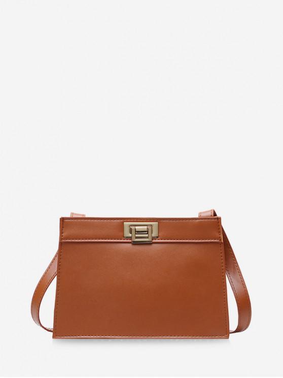 affordable Metal Hasp PU Leather Shoulder Bag - LIGHT BROWN