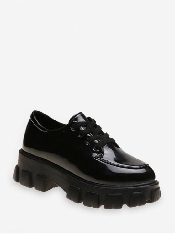buy Patent Leather Low Top Platform Boots - BLACK EU 38